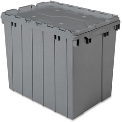 Akro-Mills Attached Lid Container, 17 Gal, Gray