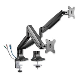 Alera AdaptivErgo Heavy-Duty Articulating Dual Monitor Arm with USB and Audio, 30 in, Black