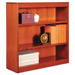 Alera Square Corner Wood Bookcase, Three-Shelf, 35.63 inw x 11.81 ind x 35.91 inh, Medium Cherry