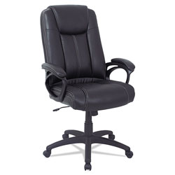 Alera CC Series Executive High Back Leather Chair, Supports up to 275 lbs., Black Seat/Black Back, Black Base