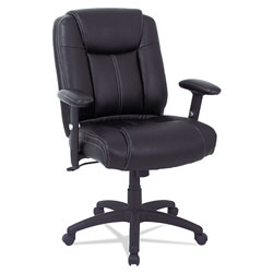 Alera CC Series Executive Mid-Back Leather Chair with Adjustable Arms, Supports up to 275 lbs., Black Seat/Back, Black Base