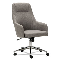 Alera Captain Series High-Back Chair, Supports up to 275 lbs., Gray Tweed Seat/Gray Tweed Back, Chrome Base
