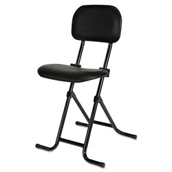 Alera IL Series Height-Adjustable Folding Stool, 27.5 in Seat Height, Supports up to 300 lbs., Black Seat/Back, Black Base