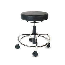 Alera HL Series Height-Adjustable Utility Stool , 24 in Seat Height, Supports up to 300 lbs., Black Seat/Back, Chrome Base