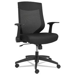 Alera EB-K Series Synchro Mid-Back Flip Arm Mesh-Chair, Supports up to 275 lbs, Black Seat/Black Back, Black Base