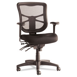 Alera Elusion Series Mesh Mid-Back Multifunction Chair, Supports up to 275 lbs, Black Seat/Black Back, Black Base