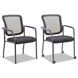 Alera Mesh Guest Stacking Chair, Supports up to 275 lbs., Black Seat/Black Back, Black Base
