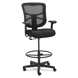 Alera Elusion Series Mesh Stool, 31.6 in Seat Height, Supports up to 275 lbs., Black Seat/Black Back, Black Base