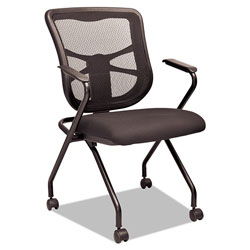 Alera Elusion Mesh Nesting Chairs, Padded Arms, Black Seat/Black Back, Black Base, 2/Carton