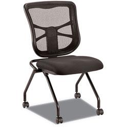 Alera Elusion Mesh Nesting Chairs, Black Seat/Black Back, Black Base, 2/Carton