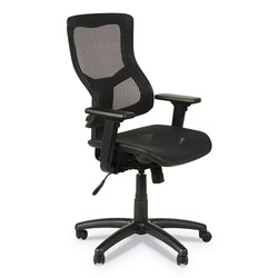 Alera Elusion II Series Suspension Mesh Mid-Back Synchro with Seat Slide Chair, Up to 275 lbs, Black Seat/Back, Black Base