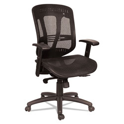 Alera Eon Series Multifunction Mid-Back Suspension Mesh Chair, Supports up to 275 lbs, Black Seat/Black Back, Black Base