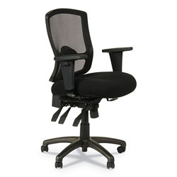 Alera Etros Series Mesh Mid-Back Petite Multifunction Chair, Supports up to 275 lbs, Black Seat/Black Back, Black Base