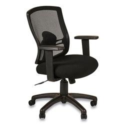 Alera Etros Series Mesh Mid-Back Petite Swivel/Tilt Chair, Supports up to 275 lbs, Black Seat/Black Back, Black Base