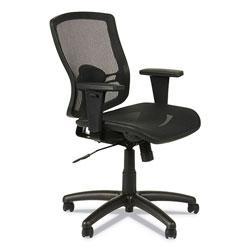 Alera Etros Series Suspension Mesh Mid-Back Synchro Tilt Chair, Supports up to 275 lbs, Black Seat/Black Back, Black Base