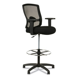 Alera Etros Series Mesh Stool, 36.13 in Seat Height, Supports up to 275 lbs, Black Seat/Black Back, Black Base