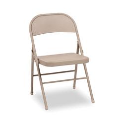 Alera Steel Folding Chair, Tan Seat/Tan Back, Tan Base, 4/Carton