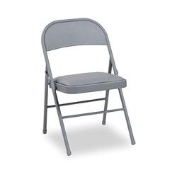 Alera Steel Folding Chair, Light Gray Seat/Light Gray Back, Light Gray Base, 4/Carton