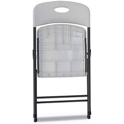 Alera Molded Resin Folding Chair, White Seat/White Back, Dark Gray Base, 4/Carton