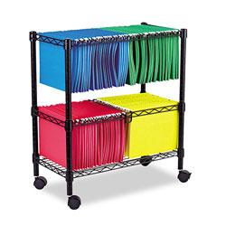 Alera Two-Tier Rolling File Cart, 26w x 14d x 29.5h, Black