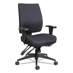 Alera Wrigley Series High Performance Mid-Back Multifunction Task Chair, Up to 275 lbs, Black Seat/Back, Black Base