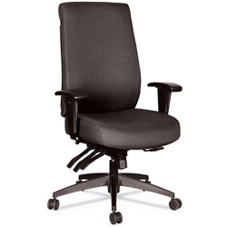 Alera Wrigley Series 24/7 High Performance High-Back Multifunction Task Chair, Up to 300 lbs, Black Seat/Back, Black Base