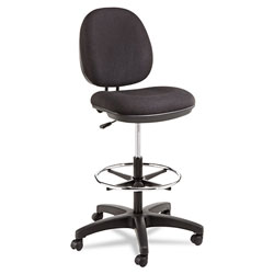 Alera Interval Series Swivel Task Stool, 33.26 in Seat Height, Supports up to 275 lbs, Black Seat/Black Back, Black Base