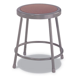 Alera Industrial Metal Shop Stool, 18 in Seat Height, Supports up to 300 lbs., Brown Seat/Gray Back, Gray Base