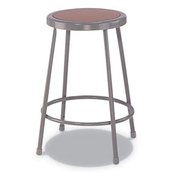 Alera Industrial Metal Shop Stool, 24 in Seat Height, Supports up to 300 lbs., Brown Seat/Gray Back, Gray Base