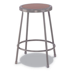 Alera Industrial Metal Shop Stool, 30 in Seat Height, Supports up to 300 lbs., Brown Seat/Gray Back, Gray Base