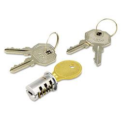 Alera Lock Core For Metal Pedestals, Chrome, Set