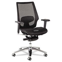 Alera K8 Series Ergonomic Multifunction Mesh Chair, Supports up to 275 lbs, Black Seat/Black Back, Aluminum Base