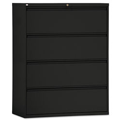 Alera Four-Drawer Lateral File Cabinet, 42w x 18d x 52.5h, Black