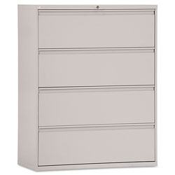 Alera Four-Drawer Lateral File Cabinet, 42w x 18d x 52.5h, Light Gray