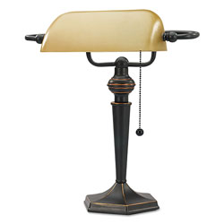 Alera Traditional Banker's Lamp, 10 inw x 13.38 ind x 16 inh, Antique Bronze