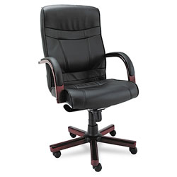 Alera Madaris Series High-Back Knee Tilt Leather Chair with Wood Trim, Supports up to 275 lbs, Black Seat/Back, Mahogany Base