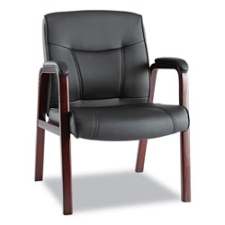 Alera Madaris Series Leather Guest Chair with Wood Trim Legs, 24.88 in x 26 in x 35 in, Black Seat/Black Back, Mahogany Base