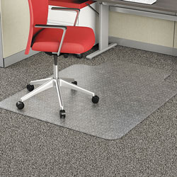 Alera Occasional Use Studded Chair Mat for Flat Pile Carpet, 45 x 53, Wide Lipped, Clear