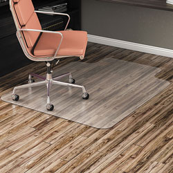 Alera All Day Use Non-Studded Chair Mat for Hard Floors, 45 x 53, Wide Lipped, Clear
