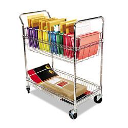 Alera Carry-all Cart/Mail Cart, Two-Shelf, 34.88w x 18d x 39.5h, Silver