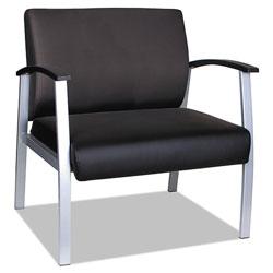 Alera metaLounge Series Bariatric Guest Chair, 30.51'' x 26.96'' x 33.46'', Black Seat/Black Back, Silver Base