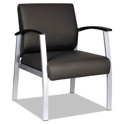 Alera metaLounge Series Mid-Back Guest Chair, 24.60'' x 26.96'' x 33.46'', Black Seat/Black Back, Silver Base