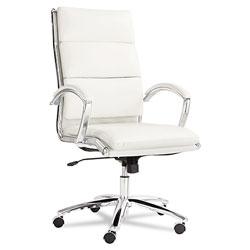 Alera Neratoli High-Back Slim Profile Chair, Supports up to 275 lbs, White Seat/White Back, Chrome Base