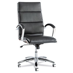 Alera Neratoli High-Back Slim Profile Chair, Supports up to 275 lbs, Black Seat/Black Back, Chrome Base