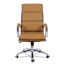 Alera Neratoli High-Back Slim Profile Chair, Supports up to 275 lbs, Camel Seat/Camel Back, Chrome Base