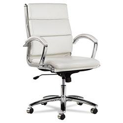 Alera Neratoli Mid-Back Slim Profile Chair, Supports up to 275 lbs, White Seat/White Back, Chrome Base