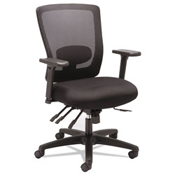 Alera Envy Series Mesh Mid-Back Multifunction Chair, Supports up to 250 lbs., Black Seat/Black Back, Black Base