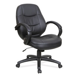 Alera PF Series Mid-Back Leather Office Chair, Supports up to 275 lbs, Black Seat/Black Back, Black Base
