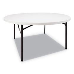Alera Round Plastic Folding Table, 60 Dia x 29 1/4h, White