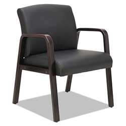 Alera Reception Lounge WL Series Guest Chair, 24.21'' x 26.14'' x 32.67'', Black Seat/Black Back, Espresso Base